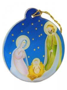 Copertina di 'Decorazione per albero in plexiglass con Nativit� su sfondo azzurro'