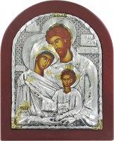 Icona Sacra Famiglia con riza resinata color argento - 18 x 14,5 cm