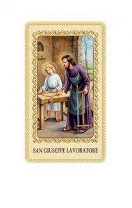 """Copertina di 'Immaginetta plastificata con preghiera """"San Giuseppe lavoratore"""" - dimensioni 6x10 cm'"""