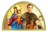 Tavola San Giovanni Bosco e Madonna Ausiliatrice stampa su legno ad arco - 18 x 12 cm