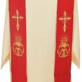 Immagine di 'Stola rossa con croce e simboli eucaristici ricamati'