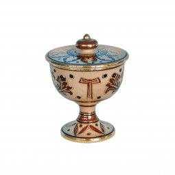 """Copertina di 'Pisside in ceramica simbolo TAU """"Modello Deruta marrone oro graffito"""" - 14 cm'"""