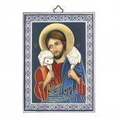 """Icona con cornice azzurra """"Gesù Buon Pastore"""" - 14 cm"""