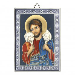 """Copertina di 'Icona con cornice azzurra """"Gesù Buon Pastore"""" - 14 cm'"""