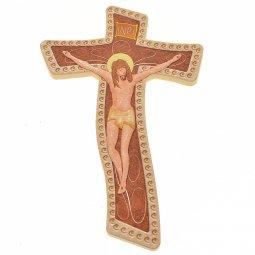 Copertina di 'Crocifisso in legno sfondo rosso - dimensioni 11,5x7,5 cm'