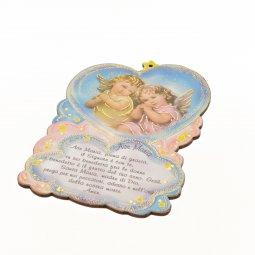 """Copertina di 'Quadretto sagomato """"Ave Maria con angioletti"""" - dimensioni 16x11 cm'"""