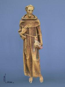 """Copertina di 'Statua in legno dipinto a mano """"San Francesco predica agli uccelli"""" - altezza 125 cm'"""