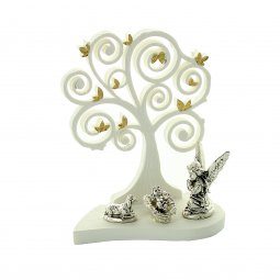 Copertina di 'Albero della Vita in resina bianca con Bambinello, angelo e pecora argentati - dimensioni 9x7 cm'