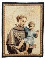 """Arazzo sacro """"Sant'Antonio con Gesù Bambino"""" - dimensioni 33x25 cm"""