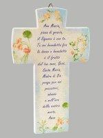 Croce Ave Maria effetto pietra - Sfondo azzurro di  su LibreriadelSanto.it