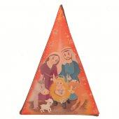 Magnete resinato a forma di alberello con Natività - rosso