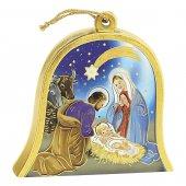 """Icona in legno a campana """"Natività"""" stile classico - altezza 10 cm"""
