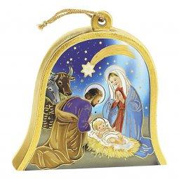 "Copertina di 'Icona in legno a campana ""Natività"" - dimensioni 10x11 cm'"