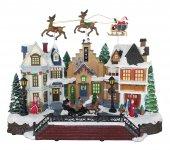Villaggio natalizio con Babbo Natale e renne in movimento, luci, musica (39 x 31 x 19 cm)