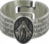 STOCK: Anello in argento 925 con l'incisa preghiera Ave Maria misura italiana n°19 - diametro interno mm 18,8 circa