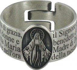 Copertina di 'STOCK: Anello in argento 925 con l'incisa preghiera Ave Maria misura italiana n°19 - diametro interno mm 18,8 circa'