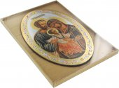 Immagine di 'Icona Sacra Famiglia, stampa cartacea su legno MDF ovale - 20 x 30 cm'