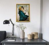 """Immagine di 'Quadro """"Madonnina"""" del Ferruzzi con lamina oro e cornice dorata'"""