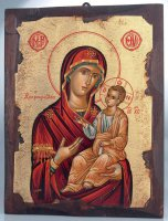"""Icona in legno dipinta a mano """"Madonna dal manto rosso con Gesù Bambino Maestro"""" - dimensioni 28x21 cm"""