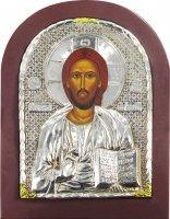 Icona Cristo Pantocratore con riza resinata color argento - 22 x 17 cm