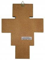 Immagine di 'Crocifisso San Damiano da parete stampa su legno bordo oro - 19,5 x 15 cm'