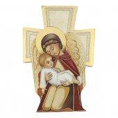 """Croce sagomata con lamina oro """"Angelo Custode"""" - dimensioni 14x9,5 cm"""