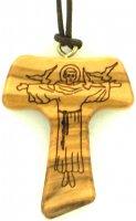 Tau in legno d'ulivo con San Francesco inciso e cordoncino