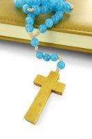 Immagine di 'Rosario azzurro con legatura di seta da mm 7,5'