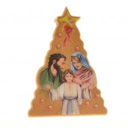 Copertina di 'Albero di Natale con Sacra Famiglia in legno d'ulivo - altezza 5,5 cm'