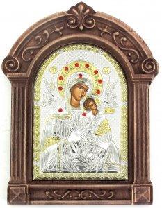 Copertina di 'Icona Madonna col Bambino Greca a forma di arco con lastra in argento e cornice in legno - 24 x 16 cm'