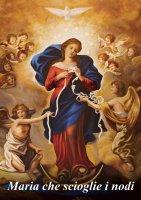 Mini Poster con immagine di Maria che scioglie i nodi cm 18 x 27