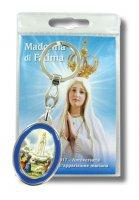 Portachiave resinato Madonna di Fatima in blister con preghiera