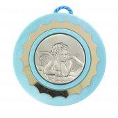 Sopraculla azzuro in argento con Angelo - cm 9