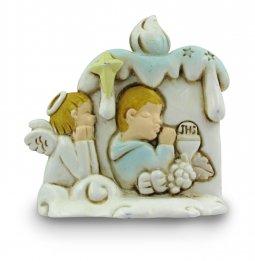 Copertina di 'Bomboniera comunione bambino: Candela in resina altezza 6,5 cm'