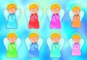 """Foglio adesivo fluorescente """"Angeli in preghiera"""" - dimensioni 12x17 cm"""