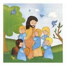 """Copertina di 'Mini puzzle per bambini """"Gesù con i bambini"""" - 12 pezzi'"""