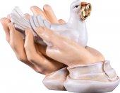 Mani protettrici con colomba - Demetz - Deur - Statua in legno dipinta a mano. Altezza pari a 10 cm.