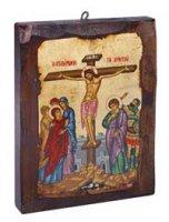 """Icona in legno dipinta a mano """"Crocifissione"""" - dimensioni 21x16 cm"""
