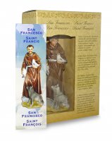 Immagine di 'Statua di San Francesco da 12 cm in confezione regalo con segnalibro in IT/EN/ES/FR'
