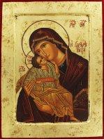 Icona Madonna della Tenerezza, produzione greca su legno - 25,5 x 19 cm