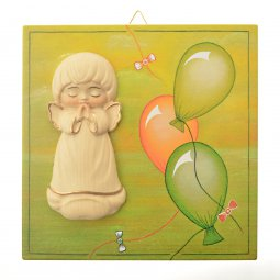 Copertina di 'Quadretto in legno verde con palloncini e angelo in rilievo - dimensioni 14x14 cm'