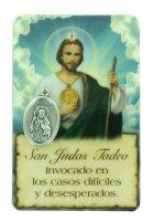 Card San Giuda Taddeo della guarigione in PVC con preghiera e medaglia - 5,5 x 8,5 cm - Spagnolo