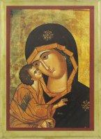 """Tavoletta """"Madonna della Tenerezza"""" con bordo oro - cm 14x11"""