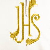 Immagine di 'Coprileggio avorio con ricamo bicolore di una croce e della scritta IHS'