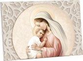 """Quadretto """"Maria e Gesù"""" con decorazione a foglia d'acanto - dimensioni 10,5x15 cm"""