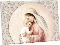 """Copertina di 'Quadretto """"Maria e Gesù"""" con decorazione a foglia d'acanto - dimensioni 10,5x15 cm'"""