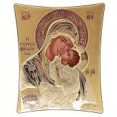 """Icona """"Madonna della tenerezza"""" greco ortodossa in legno e argento"""