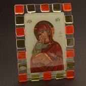 """Immagine di 'Quadretto in vetro ricurvo """"Madonna della tenerezza"""" - dimensioni 10x17 cm'"""