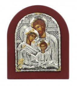 Copertina di 'Icona Sacra Famiglia con riza resinata color argento - 12,5 x 10,5 cm'