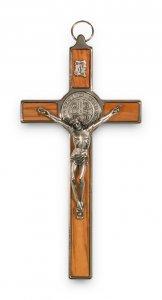 Copertina di 'Croce di San Benedetto in legno d'ulivo e metallo - altezza 20 cm'